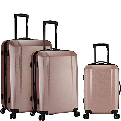 Kensie Luggage 3 Piece Expandable Hardside Spinner Luggage Set (Rose Gold)