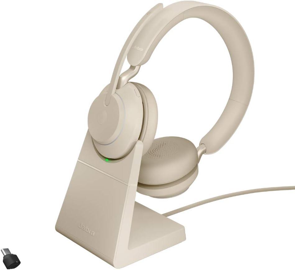 Jabra Evolve2 65 Wireless Pc Headset Mit Ladestation Noise Cancelling Microsoft Teams Zertifizierte Stereo Kopfhörer Mit Langer Akkulaufzeit Usb C Bluetooth Adapter Beige Elektronik
