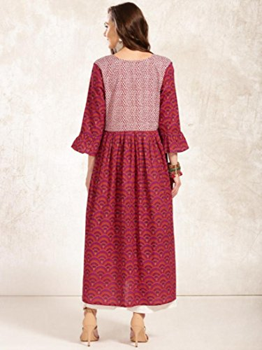 to Printed Bollywood Anarkali Women Red Fashion Wear Kurti Designer Dress Angel pink Dream Ready Kurta 0PxqCwna