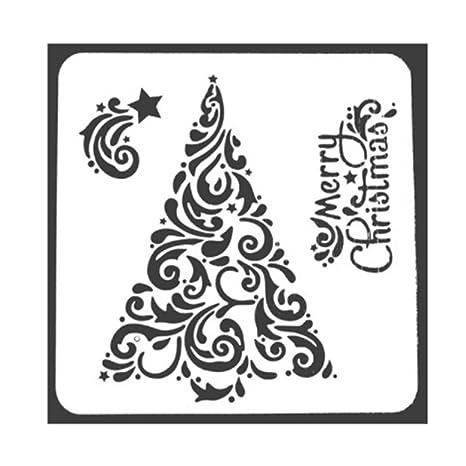 JUNGEN 13 * 13cm Plástico dibujo plantillas de pintura diseño de navidad molde para DIY álbumes