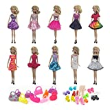 Himez Doll Clothes for Barbie Fashionistas, 11.5' Doll Outfits Accessories with Fashion Party Dresses, Shoes for Barbie Dolls Xmas Gifts, Random Styles (Dress + Shoes + Handbags Set)