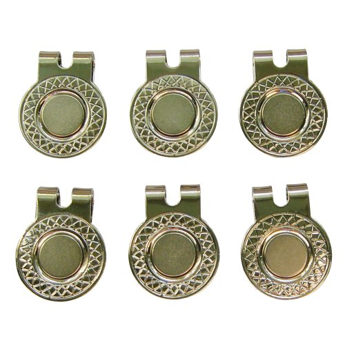 6 Silver Magnetic Hat Clips for Metal Golf Ball Markers (Type #1)