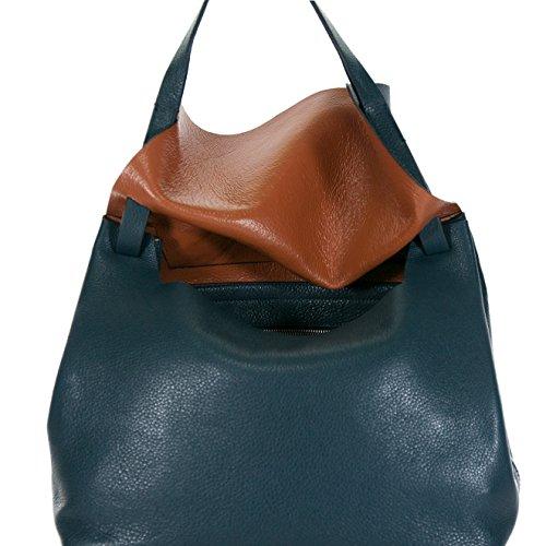 Coccinelle - Bolso al hombro de Piel para mujer Azul Blu Cognac L