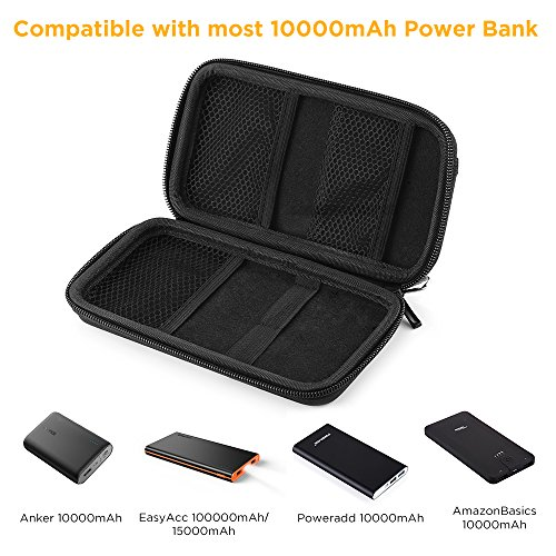 EasyAcc electric power Bank EVA instance for Anker PowerCore 10000mAh EasyAcc 6700mAh 15000mAh Elefull 10000mAh Poweradd Pilot 2GS 10000mAh convenient Charger instance using External Battery Pouch travel instance for USB Cable Hard Drives GPS Device etc Inner Size 165 x 75 x 22 mm Black Bags Cases
