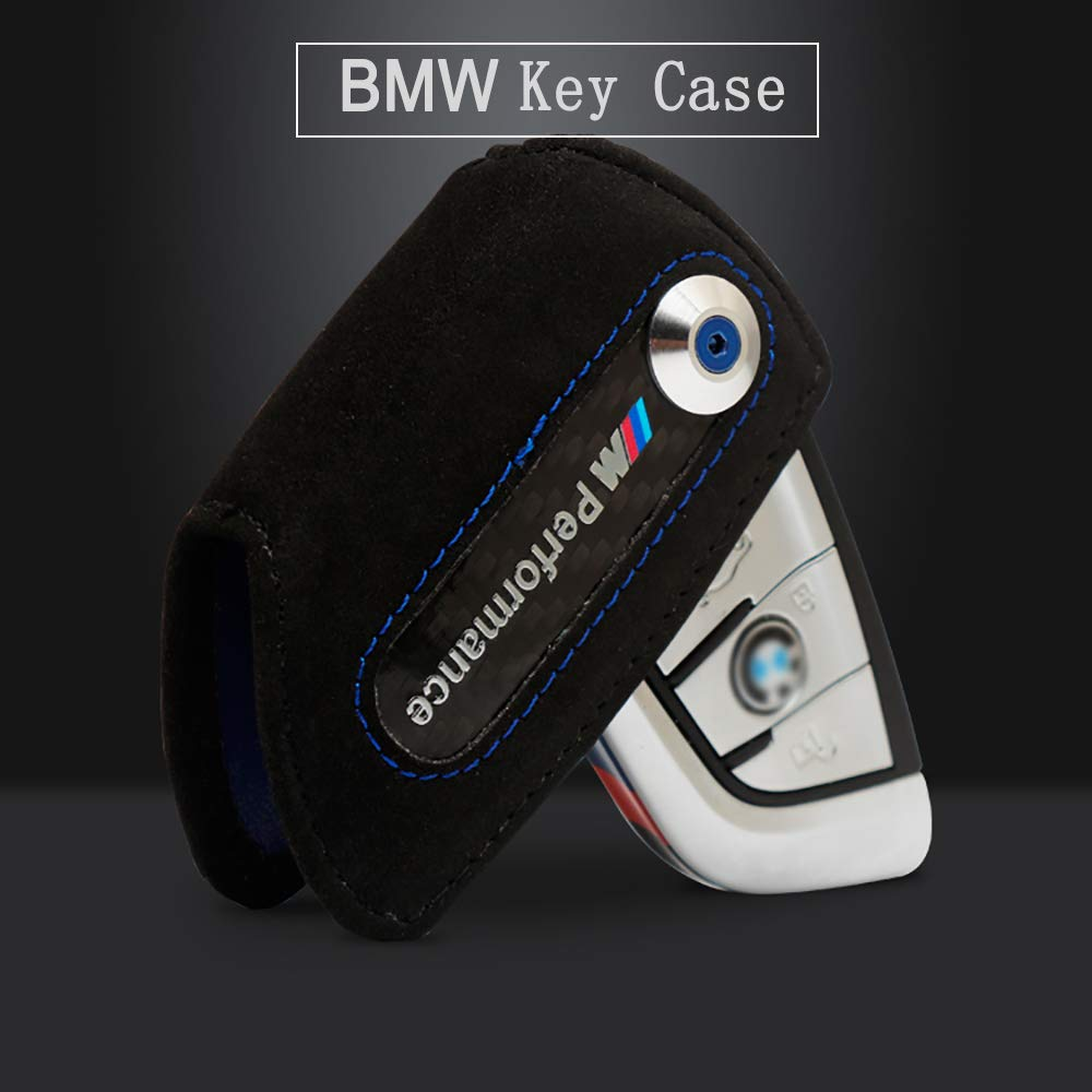 Bailunte Compatible BMW Car Key case M Performance Car Smart Remote Key Fob Cover Soft Leather Key Fob Case Key Bag Fits BMW Accessory