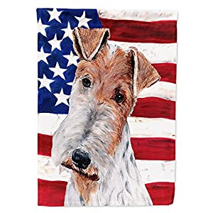 Caroline's Treasures SC9628GF Wire Fox Terrier with American Flag USA Flag Garden Size, Small, Multicolor 4