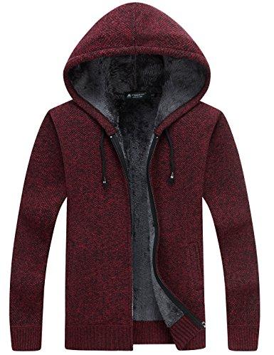 Zip Hooded Full Cardigan (Yeokou Men's Thick Sherpa Lined Full Zip Hooded Cardigan Sweaters with Pockets)