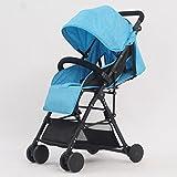 Baby Strollers Ultralight Portable Foldable Lies High Landscape Kids Stroller (Gray) (Blue) (Burgundy) 60 98cm ( Color : Blue )