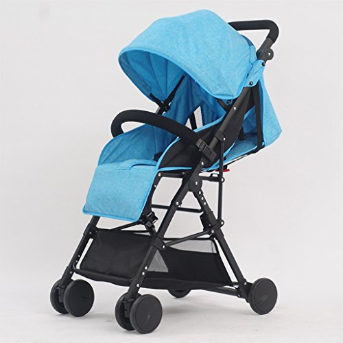 SXZHSM-Strollers Baby Strollers Ultralight Portable Foldable Lies High Landscape Kids Stroller (Gray) (Blue) (Burgundy) 60 x 98cm (Color : Blue)