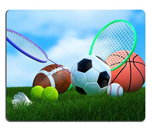 MSD Customized Natural Rubber Mouse Pad Personalized Custom Picture Recreation leisure sports equipment on grass with a football basketball baseball golf soccer tennis ball volleyball badminton birdie