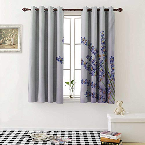 shenglv Lavender Blackout Draperies for Bedroom Little Posy of Medicinal Herb Fresh Plant of Purple Flower Spa Aromatheraphy Organic Curtains Kitchen Valance W72 x L63 Inch Lavander