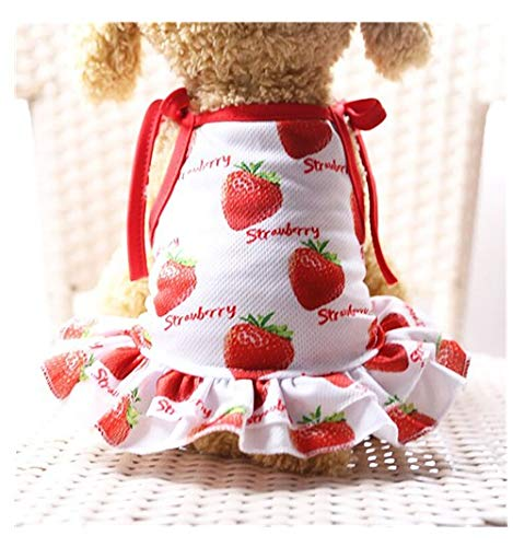Dog Dress,Hawai summer Thin Cute Floral Princess Ribbon Skirt Dog Vest small pet Cute Sweater Puppy cat Shirt Bow dog cat Stripe Vest Skirt Clothes (M, Red)