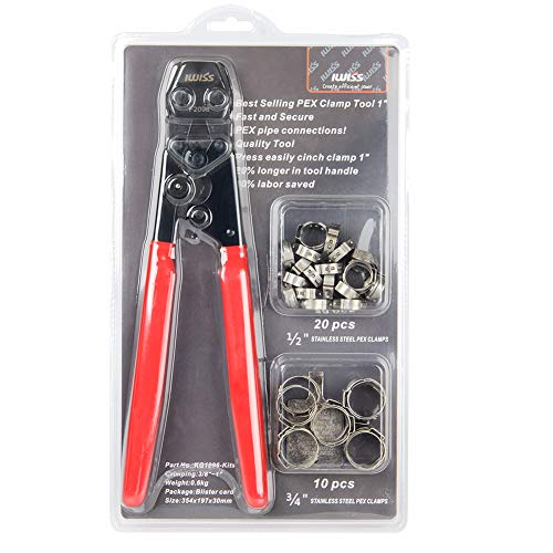IWISS PEX Cinch Clamp/Ear Hose Clamps Crimping Tool for Stainless Steel Clamps Sizes from 3/8