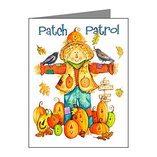 X-Large Greeting Card (10 Pack) Halloween Scarecrow Pumpkins Crows -