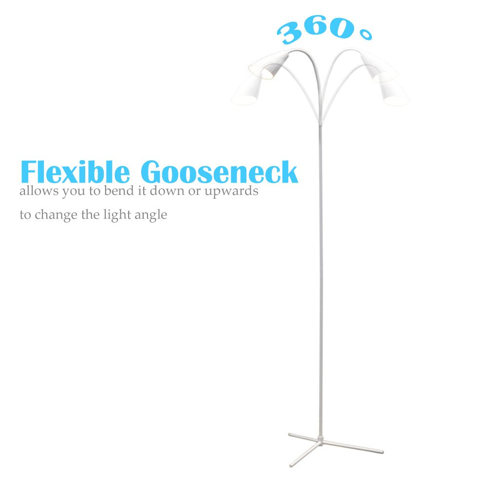 LED Floor Lamp Standing Reading Lamp, Dimmable Adjustable Gooseneck Desk Table Lamp (4 Color Temperatures, 8W, Floor Light for Living Room, Bedroom, Office) (Trumpet White)