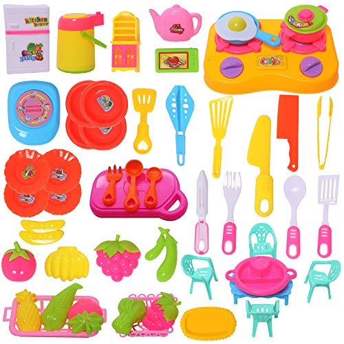 WISHKEY Plastic Cookware Pretend Play Kitchen Set Educational Toy with Colorful Life Like Accessories for Kids 3 Years…