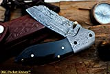 DKC Knives Sale (31 6/18) DKC-811 Excalibur Damascus Steel Folding Pocket Knife 4.5″ Folded 7.5″ Open 3.5″ Blade 8oz High Class Black Bone Feels Great in Your Hand and Pocket Damascus Bolster For Sale