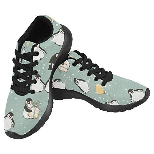 Interestprint Mujeres Footing Running Sneaker Ligero Go Easy Walking Casual Confort Deportes Zapatillas De Running Cute Penguins Wishing Happy Christmas Snowflake Multi 1