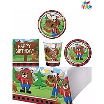 Amazoncom Lumberjack Birthday Party Supplies Set Plates Napkins
