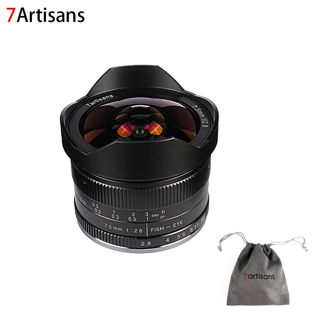 7artisans 7.5mm F2.8 APS-C Wide Angle Fisheye Fixed Lens for Sony Emount Cameras Like A7 A7II A7R A7RII A7S A7SII A6500 A6300 A6000 A5100 A5000 EX-3 NEX-3N NEX-3R NEX-C3 NEX-F3K NEX-5 NEX-5N -Black by 7artisans
