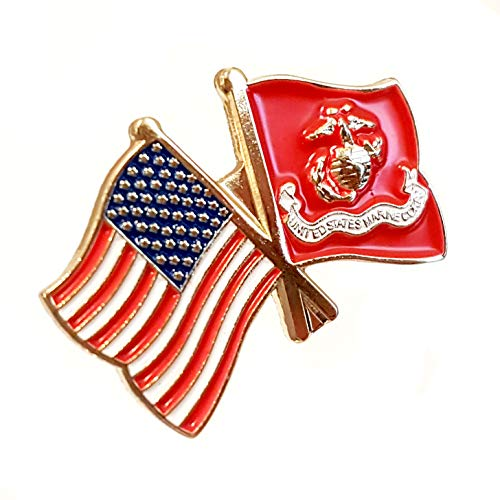 USA and USMC Flag Pin | for Hats, Lapels, Ties, Uniforms | Great Gift for Veterans, Military Men and Women | Patriotic American Flag, Marine Corps Eagle and Globe Emblem - Bulk Pack of 6 - Pin Emblem Flag Lapel