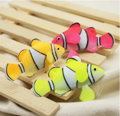 [3 x Clownfish (Red, Green and Yellow) Silocone For Aquarium Fish Tank Ornament Swim Decoration] (Halloween Decorations New York)