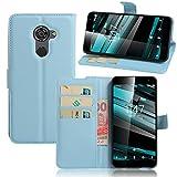 Smart Platinum 7 Case,Khytech[blue][Kickstand Feature][Card Slot][Magnetic Closure]Premium PU Leather Wallet Case Stand Cover Flip Fold Case for Vodafone Smart Platinum 7