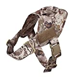 yisibo Tactical K9 Dog Training Vest Nylon Adjustable Service Police Patrol Molle Harness W/Dog Vest Packs Vest for Largr Small Dog Pet AOR1 S