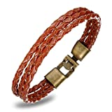 FLORAY Jewelry Mens Brown Leather Rope Bracelet, Braided Cuff Bangle
