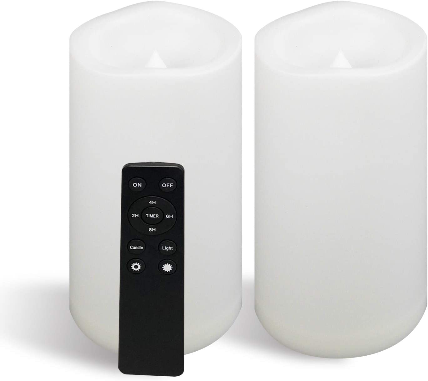 """2 Large Outdoor Waterproof Battery Operated Flameless Candles Remote Timer 4""""(D)x8""""(H) Big White Plastic Resin Bright Flickering Electric LED Pillar Lantern Patio Garden Home Wedding Party Decorations"""