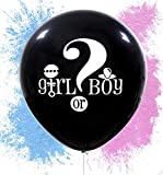 """36"""" Gender Reveal Powder Balloons Latex Black Balloons 36 inch Tassel Garland Decoration Around The Ribbon for Baby Shower Pregnancy Announcement Boy or Girl Party"""