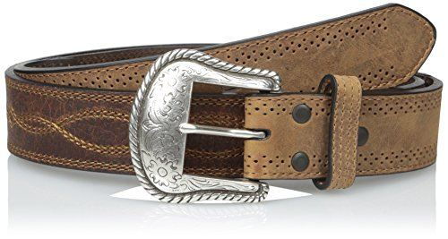 Dan Post Men's Western Stitch Detail Oil Tanned Leather Belt, Brown, 36 Brown Pebble Oil