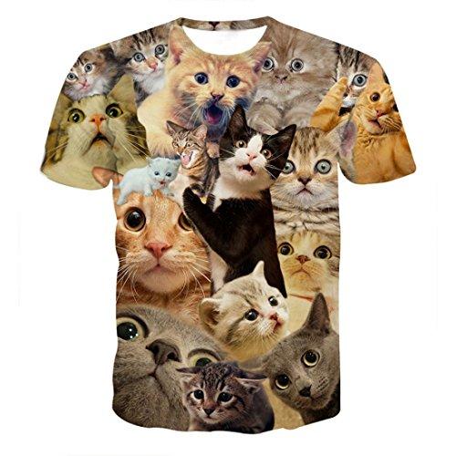 Mens T Shirt Charberry Spring-Summer 3D Printing Trend Short Sleeve T-Shirt Kitty Cat T-Shirts Top Tee Blouse (US-XL /CN-L2)