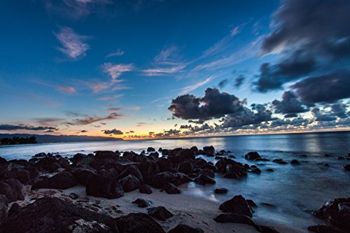 Sunset behind a rocky shoreline at Leftover's Beach, North Shore, Oahu, Hawaii print picture photo photograph fine (North Shore Oahu Hawaii)