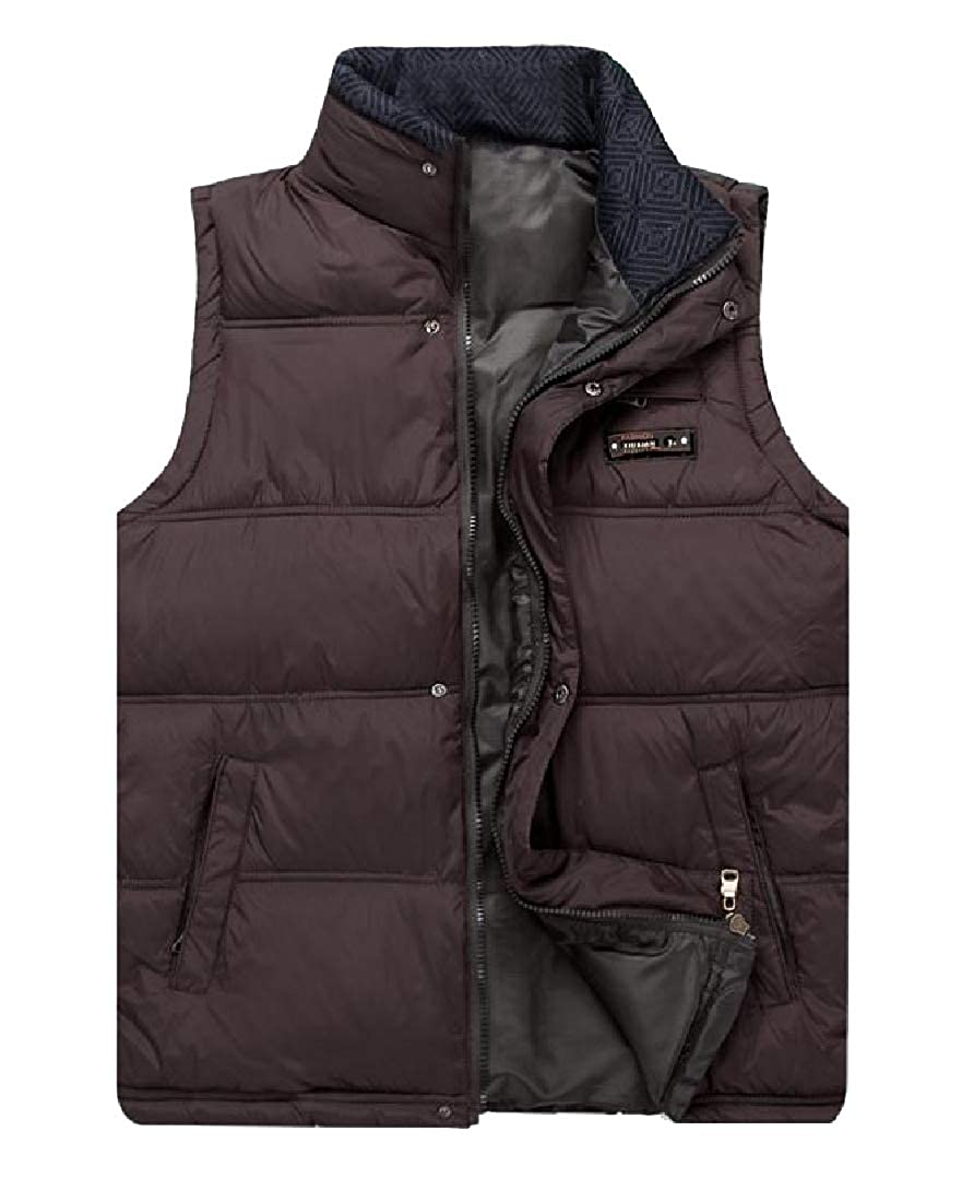 Abetteric Mens Padded Large Size Full Zip Packable Thermal Puffy Vest