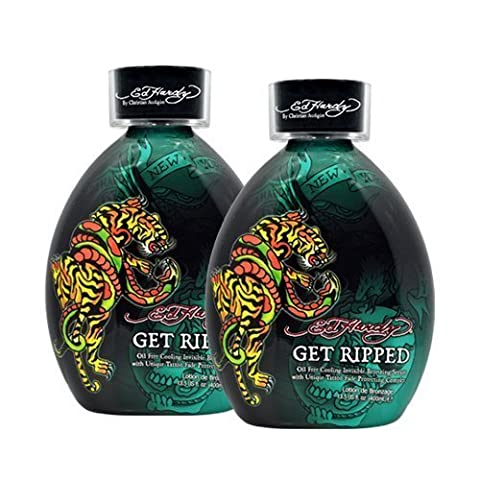 Lot 2 Ed Hardy Get Ripped Indoor Tanning Lotion Accelerator Bronzer Dark Tan Bed (Indoor Tanning Bed Accelerator)