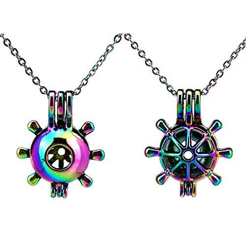 RQWY Collar 2 unids/Set Rainbow Color Timón Jaula Colgante Locket ...