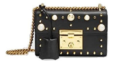 ea848c4aa246ec Image Unavailable. Image not available for. Colour: New Gucci Black Padlock  Studded Leather Shoulder Bag