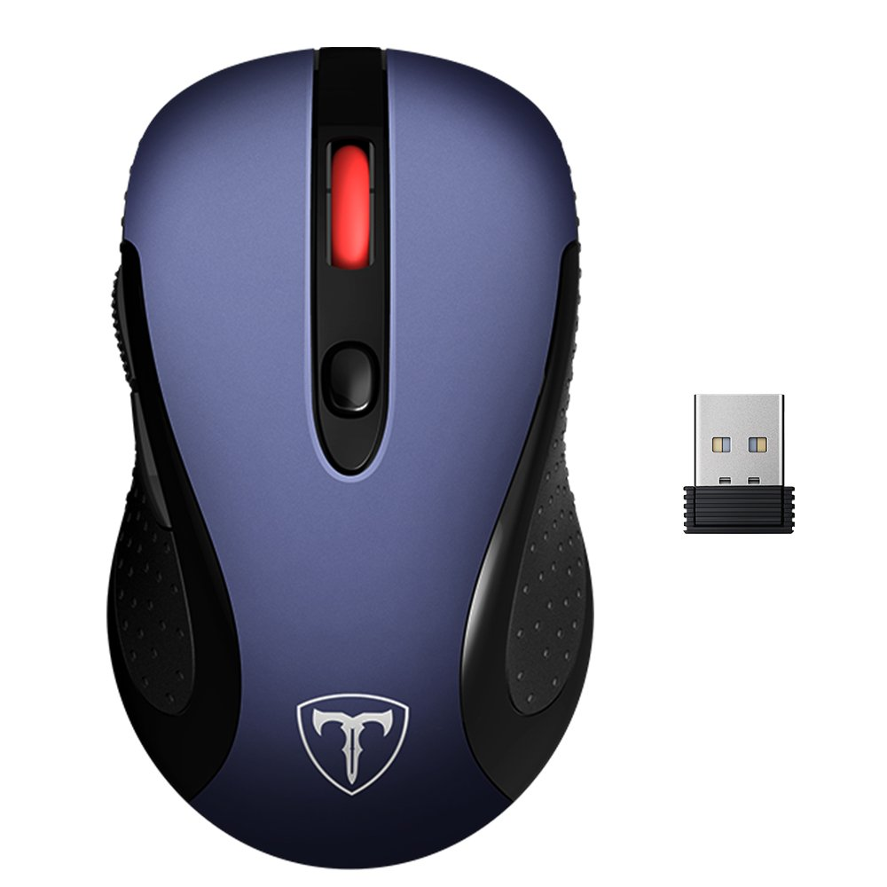 VicTsing 2.4G Wireless Mouse Wireless Optical Laptop Mouse with USB Nano Receiver, 6 Buttons,5 Adjustable DPI Levels,15 Months Battery Life-Dark Blue