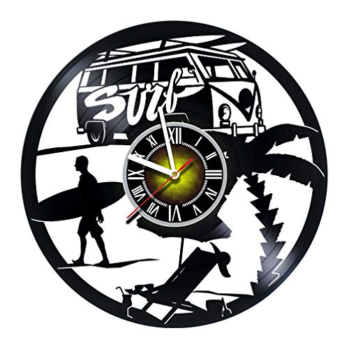 Toffy Workshop SURFING Decor Vinyl Record Wall Clock - Exciting room decor - perfect gift idea for children, adults, men and women - Unique SURF Art Design!