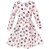 Sunny Fashion KC33 Girls Dress Oak Print Light Pink Long Sleeve Princess Size 4