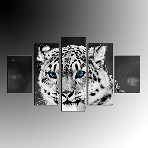 5 Panel Large Modern Snow Leopard Canvas Oil Painting Animal Wall Art Black and White Portrait Canvas Print Blue Eyes for Living Room Decor No Frame