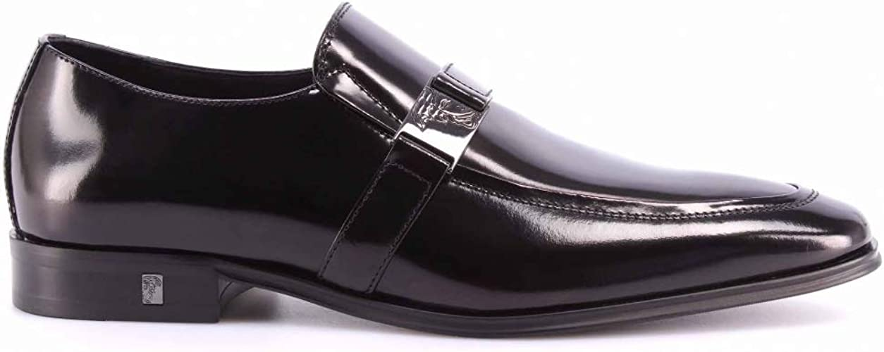 Versace Collection Men/'s Black Leather Lace Up Wing Tip Oxford Dress Shoes