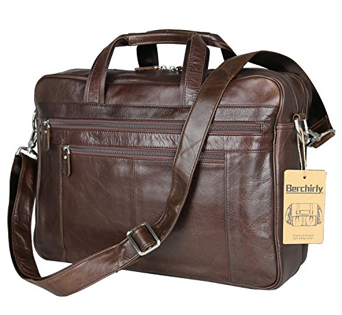 Laptop Bags, Berchirly Genuine Leather Work Office Brifecase Business Bag fits 17-inch Laptop by Berchirly