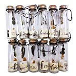 Nesting Nomad Small Transparent Mini Glass Jars with Cork Stopper and with Inside Steam Punk Pendants 6