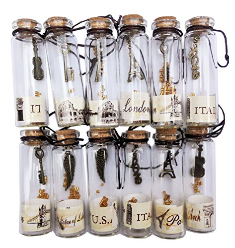 Nesting Nomad Small Transparent Mini Glass Jars with Cork Stopper and with Inside Steam Punk Pendants]()