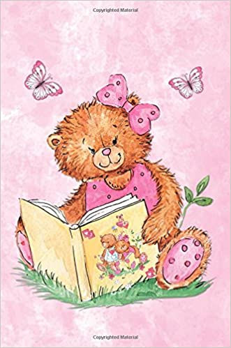 sweet bear reading book 6 x 9 narrow ruled lined journal 132 pages