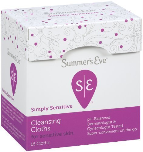 Summer's Eve Simply Sensitive Cleansing Cloths On-The-Go for Sensitive Skin | Individually Wrapped | 16-Count per pack | 12-Pack