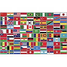 Sheet of Top 100 Different WORLD COUNTRY Flag Stickers (scrapbooking countries small)