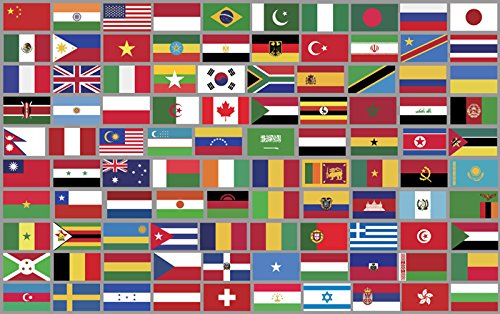 Sheet Of Top 100 Different World Country Flag Stickers  Scrapbooking Countries Small